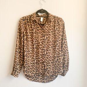 H&M Leopard Long Sleeve button down top